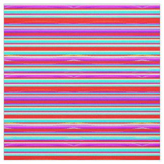 Bright Colorful Stripes in Red Turquoise Hot Pink Fabric