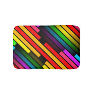 Bright Colorful Stripy Teen Boys Mens 3D Pattern Bath Mat