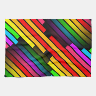 Bright Colorful Stripy Teen Boys Mens 3D Pattern Kitchen Towel