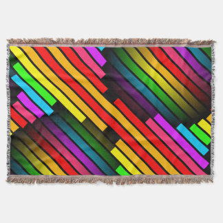 Bright Colorful Stripy Teen Boys Mens 3D Pattern Throw Blanket