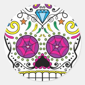 Bright Colorful Sugar Skull-Dia Des Los Muertos Round Sticker