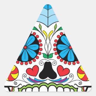 Bright Colorful Sugar Skull-Dia Des Los Muertos Triangle Sticker