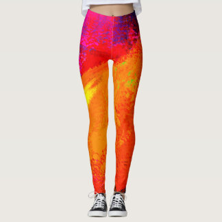 Bright Colorful Sunrise Abstract Painting - Leggings