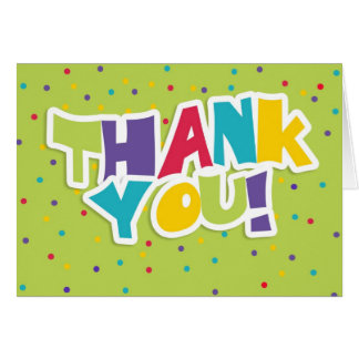 Bright Colorful Thank You Greeting Card With Dots