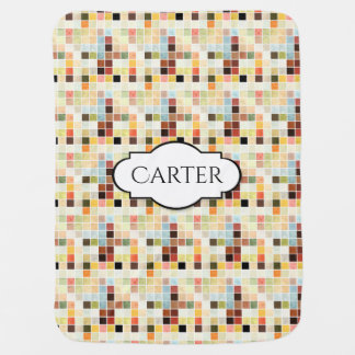 Bright & Colorful Tiles w/Name Personalization Baby Blanket