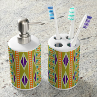 Bright Colorful Trendy Tribal Aztec Geo Pattern Bathroom Set