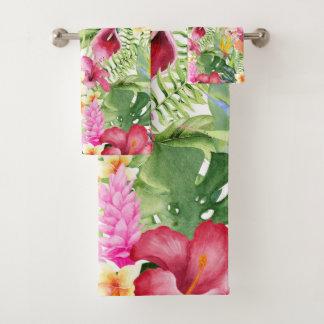 Bright Colorful Tropical Floral Botanical Leaves Bath Towel Set