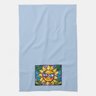 Bright & Colorful Tropical Sun on Lt Blue Kitchen Towel