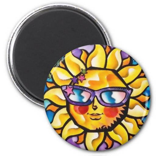 Bright & Colorful Tropical Sun & Palms Magnet