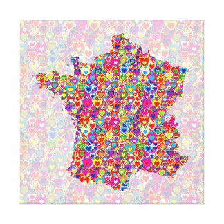 Bright Colorful Upbeat Heart Filled Map of France Canvas Print