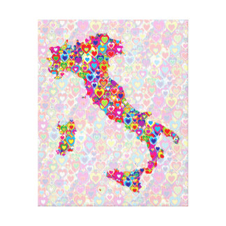 Bright Colorful Upbeat Heart Filled Map of Italy Canvas Print