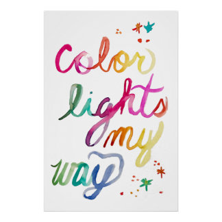 Bright Colorful Watercolor Brush Lettering Rainbow Poster
