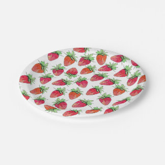 Bright Colorful Watercolor Fruity Strawberries 7 Inch Paper Plate