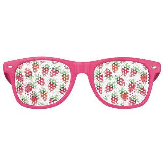 Bright Colorful Watercolor Fruity Strawberries Retro Sunglasses