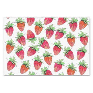 Bright Colorful Watercolor Fruity Strawberries Tissue Paper