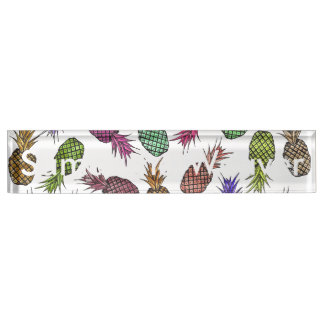 Bright Colorful Watercolor Tropical Pineapples Name Plate