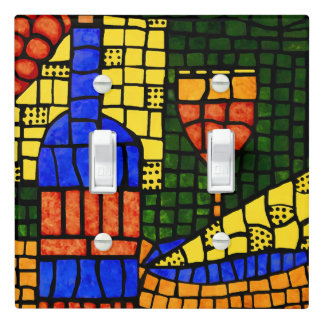 Bright Colorful Wine And Cheese Light Switch Cover
