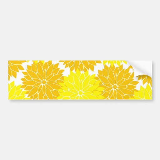 Bright Colorful Yellow Flower Blossoms Floral Bumper Stickers