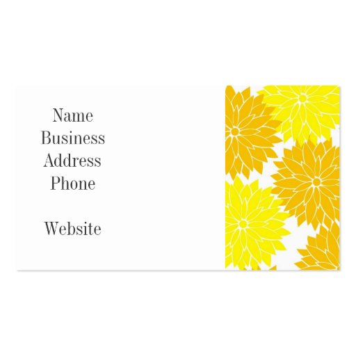Bright Colorful Yellow Flower Blossoms Floral Business Card Template