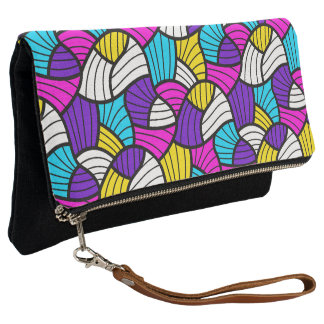 Bright Colors Abstract Wavy Lines Pattern Clutch