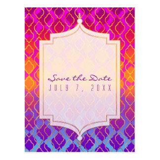 Bright Colors Arabian Moroccan Glam Save the Date Postcard