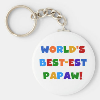 Bright Colors Best-est Papaw Tshirts and Gifts Keychain