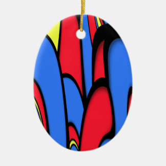 Bright  Colors Ceramic Oval Ornament