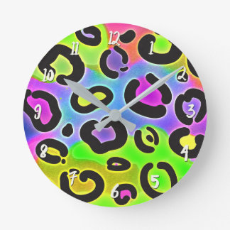 Bright Colors Cheetah Leopard Print Spots Custom Round Clock