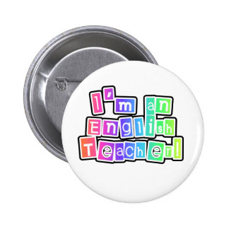 Bright Colors English Teacher 2 Inch Round Button