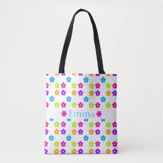 Bright Colors Flower Pattern Tote Bag