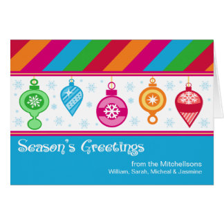 Bright Colors Fun Ornaments Folded Holiday Greeting Card
