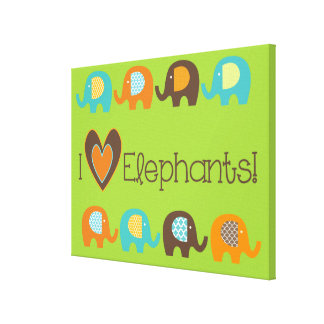 Bright Colors I Love Elephants Wrapped Canvas