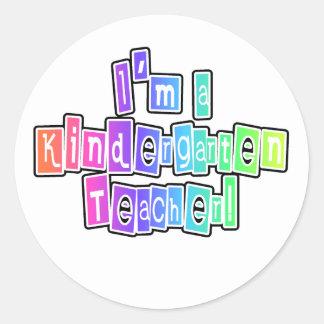 Bright Colors Kindergarten Teacher Round Sticker