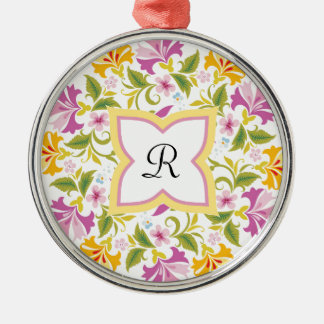 Bright Colors Mandala Custom Silver-Colored Round Ornament