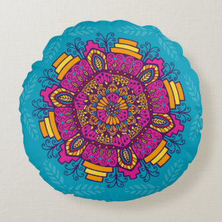 Bright Colors Mandala Round Pillow