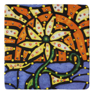Bright Colors Modern Abstract Flower Trivet