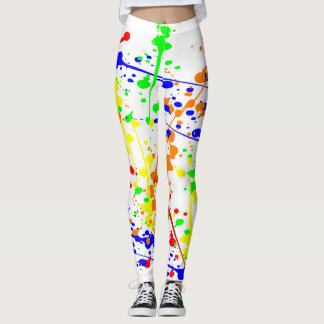 Bright Colors Paint Splatter Pattern Leggings