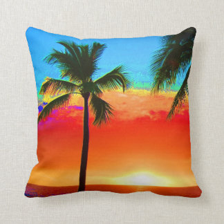 Bright Colors Palm Tree Throw Pillow