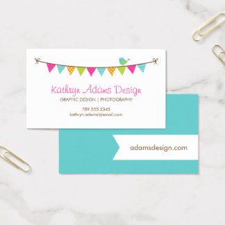 Bright Colors Patterned Bunting and Cute Bird Business Card