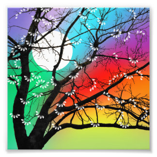 Bright Colors Tree and Moon Photo Print