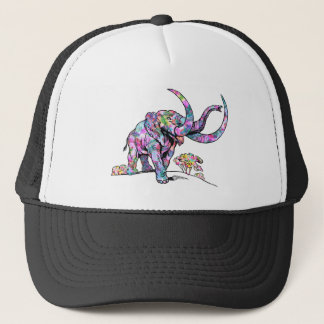Bright Colors Vintage Elephant Illustration Trucker Hat