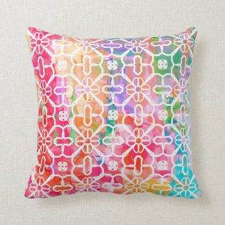 Bright colors with print overlay on throw pillow