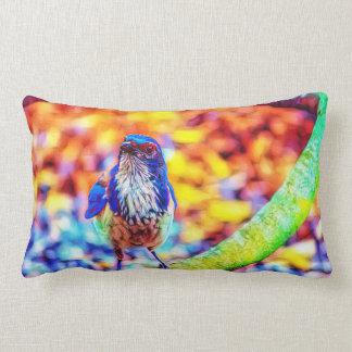 Bright coloured bird art pillow