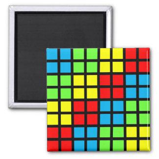 Bright Coloured Optical Illusion Magnet (square)