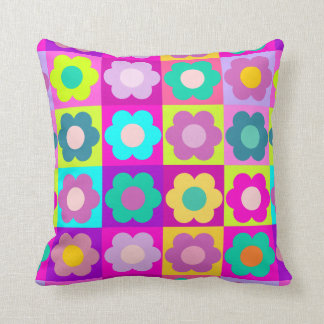 Bright coloured pop art floral throw pillow