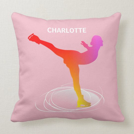 Bright Colourful Ice Skating Silhouette Graphic Throw Pillow