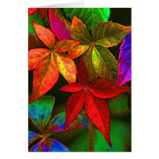 Bright colourful leaves card
