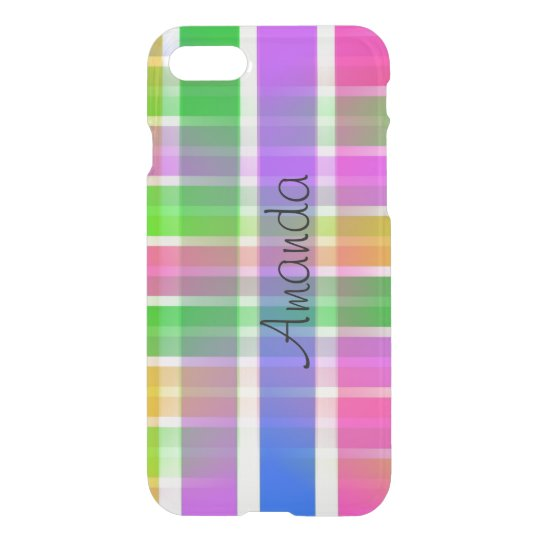 Bright Colourful Plaid Clear iPhone Case