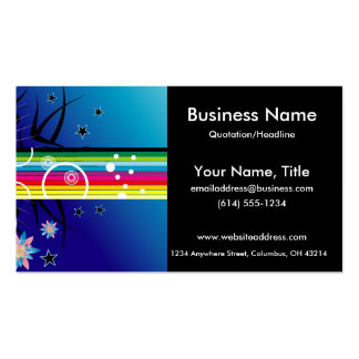 Bright Colourful Stripes & Flowers 2 Business Card