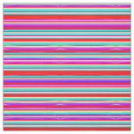 Bright Colourful Stripes in Red Turquoise Hot Pink Fabric